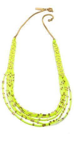 Idea: Neon Thread/Cord + Brass Beads  Madewell Friendship Bracelet Necklace