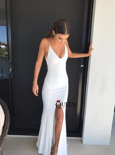 long prom dresses - Spaghetti straps long white slit prom dress, long simple formal dress with slit Grad Dresses, Dance Dresses, White Prom Dresses, White Evening Dresses, Wedding Dresses, Prom Outfits, Bridesmaid Gowns, Pageant Dresses, Dress Prom