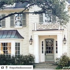 """161 Likes, 3 Comments - Ansley (@myhauterevival) on Instagram: """"Lovely house for a lovely day! I adore copper on a house & Bevolo (I'm assuming) lanterns!…"""""""