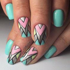 Aztec Nail Art, Tribal Nails, Geometric Nail, Pretty Nail Designs, Pretty Nail Art, Nail Art Designs, Aztec Nail Designs, Acrylic Nail Designs Glitter, Cute Acrylic Nails