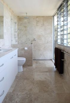 30 Calm And Beautiful Neutral Bathroom Designs DigsDigsis free HD Wallpaper. Thanks for you visiting 30 Calm And Beautiful Neutral Bathroom. Neutral Bathrooms Designs, Neutral Bathroom Tile, Travertine Bathroom, Bathroom Paint Colors, Bathroom Floor Tiles, Grey Bathrooms, Bathroom Designs, Bathroom Ideas, Modern Bathroom