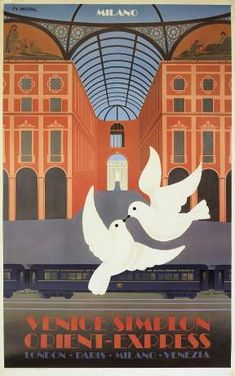 'Venice Simplon Orient-Express Milano Vintage Travel Poster' Poster by vintagetravel Old Poster, Retro Poster, Poster Vintage, Vintage Travel Posters, Vintage Italian Posters, Vintage Advertising Posters, Vintage Advertisements, Train Posters, Railway Posters