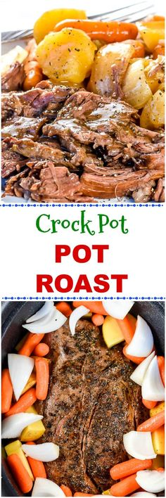 This easy Crock Pot Chuck Roast or Pot Roast recipe with roasted potatoes carrots and onions is so juicy tender and flavorful no one would ever believe how easy it is to make in the slow cooker! Slow Cooker Roast, Crock Pot Slow Cooker, Crock Pot Cooking, Crock Pots, Pot Roast Recipes, Beef Recipes, Cooker Recipes, Recipies, Yummy Recipes