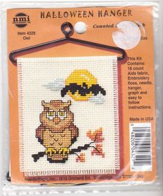 Counted Cross Stitch Kit 4329 Owl Bat Halloween Hanger NMI