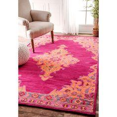 nuLOOM Handmade Wool Persian Medallion Pink Rug (7'6 x 9'6)