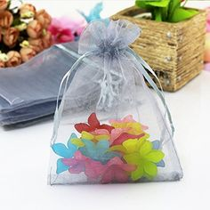 "Grandroomchic[TM] 100 Pcs 5""x7\"" Gray Jewelry Organza Drawstring Pouches Jewelry Party Candy Bags Jewelry Pouch Favor Gift Bags >>> Visit the image link more details."