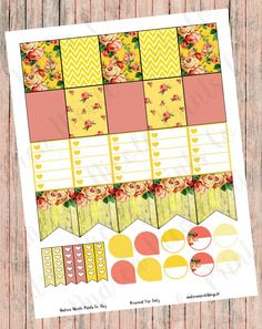 DIY Print & Cut Yellow Cottage Roses Planner Page Decor Stickers for Erin Condren, MAMBI Planner, Plum Paper Planner by AndreaNicolePrintsCo on Etsy