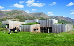Hof Country Residence, Skakafjordur, Iceland  the designers use the exposed mass of the concrete to stabilise internal temperatures, geothermal energy heats the house's water supply, and the little electricity that is required is generated by hydroelectric sources.