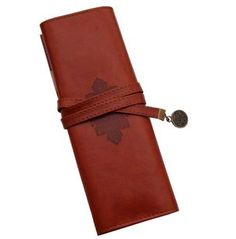 Vintage Style Rollup Pencil Case, Pencil Bag, Pen Pocket - PU Leather