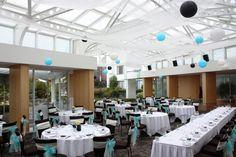 Blue & white wedding reception decor