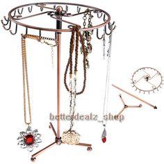 Rotating Copper Color Metal Necklace Bracelet Holder Jewelry Display