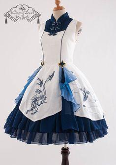 QuaintLass -Lotus with Fragrance- Qi Lolita Jumper Dress,Lolita Dresses, Kawaii Fashion, Lolita Fashion, Cute Fashion, Rock Fashion, Fashion Fashion, Cosplay Outfits, Dress Outfits, Dress Up, Jumper Dress