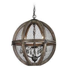 Small Renaissance Invention Wood And Wire Chandelier at Destination Lighting