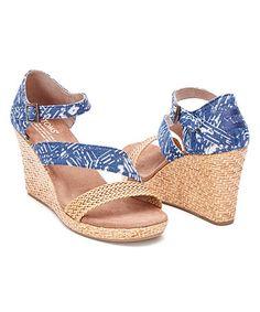 Look at this #zulilyfind! Blue Batik Raffia Clarissa Wedge - Women #zulilyfinds