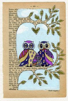 Tre med ugler - Original illustrasjon on Epla.no  Annette Mangseth  epla.no/shops/carambatackdesign