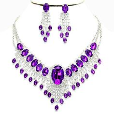 Affordable Wedding Jewelry Purple Clear Rhinestone Cascade Earrings Silver Necklace Set *** Visit the image link more details.