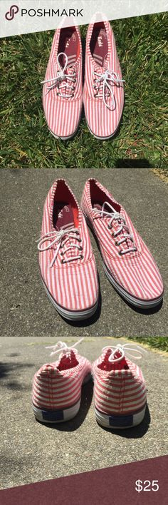 Keds red and white stripe Sz 9.5 Keds red white striped lace up sneakers.  Worn twice EUC  no stains no wear Keds Shoes Sneakers