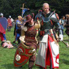 Conquest of Mythodea 2009 Warhammer Empire, Warhammer Fantasy, Medieval Armor, Medieval Fantasy, Fantasy Costumes, Cosplay Costumes, Larp, Conquest Of Mythodea, Crusader Knight