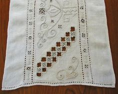 Italian Work Embroidery Reticella Lace Panel Linen from mercymaude on Ruby Lane