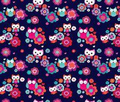 Owls and nightlu summer blossom fabric by littlesmilemakers on Spoonflower - custom fabric