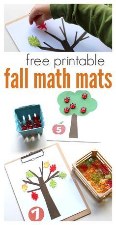 FREE Printable Math Mats For Fall