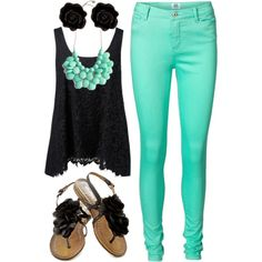 """""""Mint and Black"""" by marchantbaleigh on Polyvore"""
