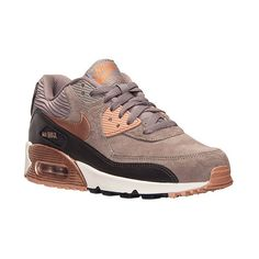 Nike Women's Air Max 90 Leather Running Shoes, Brown ($120) ❤ liked on Polyvore featuring shoes, athletic shoes, brown, brown shoes, retro running shoes, waffle shoes, brown athletic shoes and nike footwear