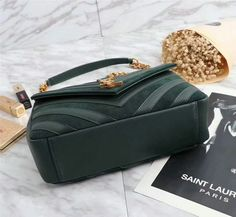 a46aa420a115 2017 F W Saint Laurent Medium Monogramme College Bag in Dark Green  Leather Suede Patchwork