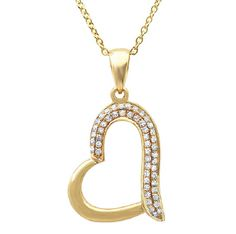 14k Yellow Gold Heart Pendant w/ 0.13CT Diamonds   Available in:  yellow gold, white gold, rose gold