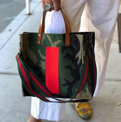 PARKER THATCH MIMI BAG CAMO with BOLD RED STRIPE. A timeless classic