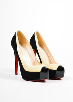 """Black and Nude Christian Louboutin Leather Suede """"Mago"""" Platform Pumps"""