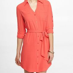 Express Portofino shirt dress Beautiful coral color. Worn once to work. Excellent condition Express Dresses