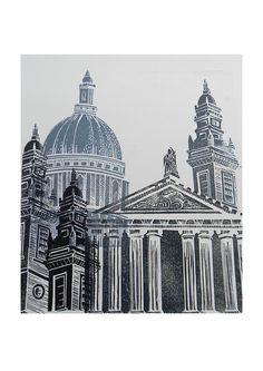 st pauls linocut print by Mangle Prints, building artwork, relief printing, illustration