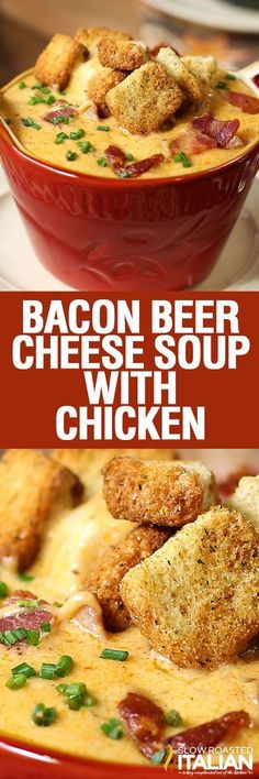 Minute Bacon Beer Cheese Soup with Chicken is one of our all time most popular recipes and for good reason. Minute Bacon Beer Cheese Soup with Chicken is one of our all time most popular recipes and for good reason. Cooking With Beer, Slow Cooking, Cooking Recipes, Crockpot Recipes, Beer Recipes, Chicken Recipes, Dinner Recipes, Chicken Bacon, Recipies