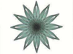 Original Pen & Ink Drawing, Geometric Circle, Star Drawing, Flower Drawing, Abstract Modern Line Drawings, 8 x 10
