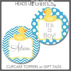 Personalized Aqua and Yellow Rubber Duck Cupcake Toppers or Gift Tags by HeadsUpGirls, $8.00
