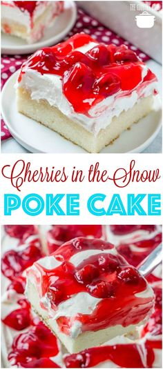 Cherries in the Snow Pudding Poke Cake recipe from The Country Cook #cakemix #CoolWhip #cherry #piefilling #pokecake #cake #desserts #easy #recipes #ideas #whitechocolate #pudding