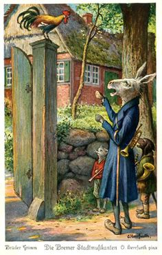 Brothers Grimm, The Bremen Town Musicians, illustrated by Oskar Herrfurth.de ----- I love these Illustrations. The palette of colors is so soft, and the paint so softly applied. Le Kraken, Brothers Grimm Fairy Tales, Fairy Tales For Kids, Fairytale Art, Children's Picture Books, Beautiful Stories, Imagines, Children's Book Illustration, Illustrations Posters