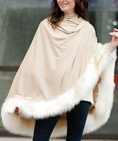 Look at this #zulilyfind! Camel Faux Fur-Hem Cape #zulilyfinds