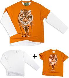 """Kinder Tiger Shirt orange + Langarm-Shirt weiß *Der Druck:* Das Siebdruckverfahren erzeugt ein besonders hochwertiges und enorm strapazierfähiges Druckmotiv! Der Druck ist kaum fühlbar. Man spürt nur noch das Textil selbst und hat somit keinen störenden """"Aufkleber-Effekt"""" mehr. Der Druck verschließt auch nicht die Maschen des T-Shirts. Das T-Shirt bleibt locker und atmungsaktiv im Bereich des Druckes. Das Ergebnis sind hervorragend deckende Druckmotive, die enorm waschmaschinenfest sind und…"""