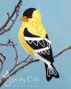 Felt Goldfinch Stuffed Bird Ornament by Squishy-Cute Designs - Craftsy