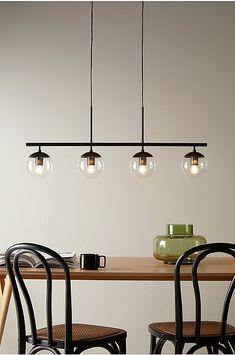 Dining Lighting, Track Lighting, Modern Kitchen Design, Home Interior Design, Lamp Light, Light Fixtures, Midcentury Modern, Ceiling Lights, House Styles