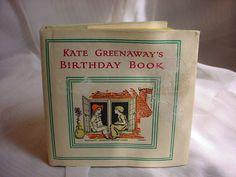 Vintage Kate Greenaway Birthday Book Illustrated w Verses by Sale Barker HC DJ #KateGreenaway