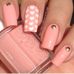 Peach nails with gold studs and hearts...x