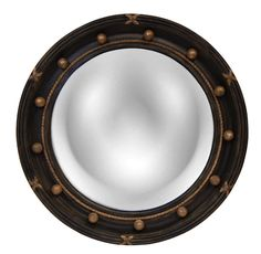 Regency Convex Round Wall Mirror, Old Black Gold Color Finish
