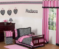 Pink and Black Girls Boutique Toddler Bedding 5 pc set Girls Room Print Bedding