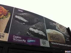 MCDONALD'S OREO COOKIES 'N' CREAM PIE: Apparently, this is only a kitchen test food item right now...McDonald's better release this or I'm gonna be ticked!