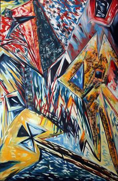 """Figures in space 3 "" Oil-Painting. Size: 130x200cm"
