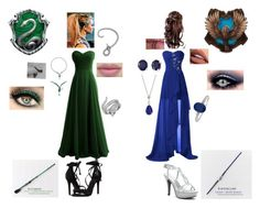 """Yule Ball Slytherin and Ravenclaw"" by slytherinravenclaw ❤ liked on Polyvore featuring Schutz, Dyeables, CZ by Kenneth Jay Lane, Effy Jewelry, LALI Jewels and Sephora Collection"