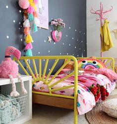 Indi's toddler room makeover - packed with colour and bursting with fun. Featuring cool decor for kids like this kip and co rainbow cushion.